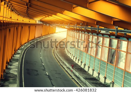moving fast in tunnel - stock photo