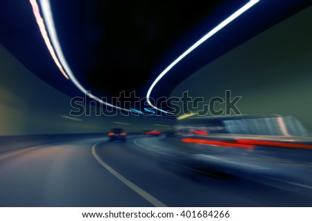 moving forward motion blur background,night scene in highway tunnel - stock photo