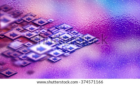 Moving group of arrows on a lilac backdrop, as a concept and a sign of the unity of internet community in cyberspace for determination direction and areas of cooperation of the crowd to help the needy