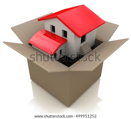 Moving house and move day with a model home in an opened cardboard box as a 3d illustration of the healthy real estate market sales and packing to change neighborhood due to business work transfer