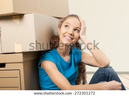 Moving House, Moving Office, Box. - stock photo