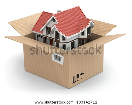 Moving house. Real estate market. Three-dimensional image. - stock photo