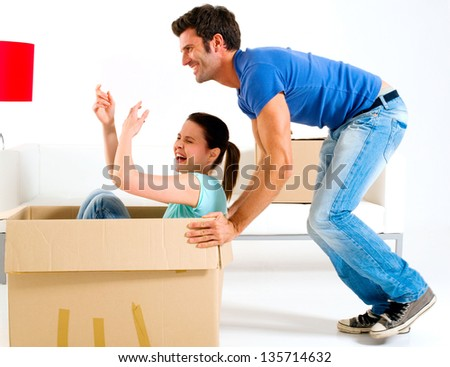moving into new home - stock photo