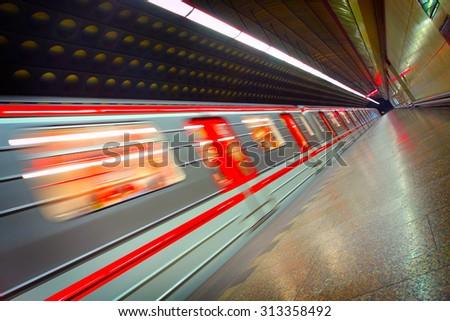 Moving metro train  - stock photo