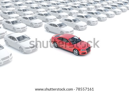 Moving out from the crowd,one red the rest white, isolated on a white background, 300 D.P.I 3D model - stock photo