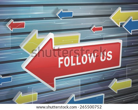 moving red arrow of follow us words on abstract high-tech background - stock photo
