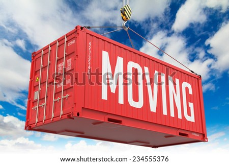 Moving - Red Hanging Cargo Container on Sky Background. - stock photo