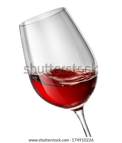 Moving red wine glass over a white background - stock photo