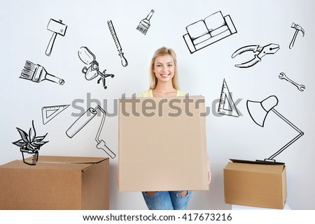 moving, repair, housing, accommodation and people concept - smiling young woman with cardboard box at home over doodles - stock photo