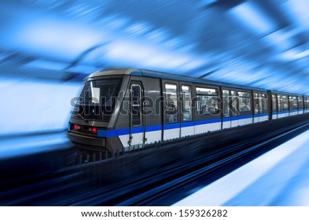 Moving train, motion blurred, Paris Underground. France - stock photo