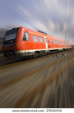moving train with motion blur