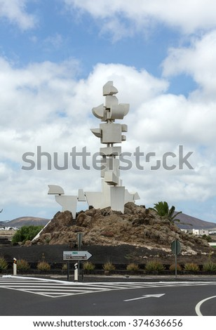 MOZAGA, LANZAROTE ,SPAIN - SEPT 9, 2015: Monumento al Campesino in Mozaga erected by the artist Cesar Manrique in the year 1986 is a memorial in honour of the hard working peasant farmers of Lanzarote