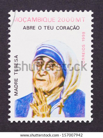 MOZAMBIQUE - CIRCA 2010: a postage stamp printed in Mozambique showing an image of Nobel Peace Prize winner Mother Teresa, circa 2010. - stock photo