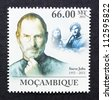 MOZAMBIQUE - CIRCA 2011: a postage stamp printed in Mozambique showing an image of Steve Jobs, circa 2011. - stock photo