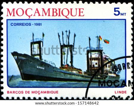 MOZAMBIQUE - CIRCA 1981: A stamp printed in Mozambique, shows a Ocean freighter Linde, series, circa 1981  - stock photo