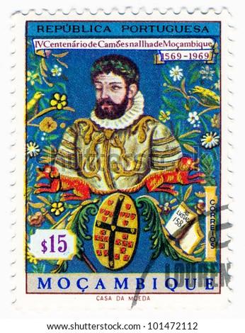 MOZAMBIQUE - CIRCA 1969: A stamp printed in Mozambique, shows portrait of Luiz Vaz de Camoens, Portuguese poet, circa 1969 - stock photo