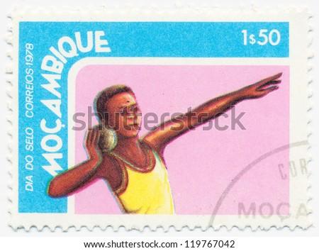 MOZAMBIQUE - CIRCA 1978: A stamp printed in Mozambique, shows shot put, circa 1978 - stock photo