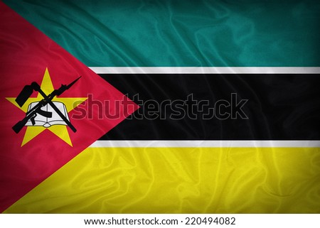 Mozambique flag pattern on the fabric texture ,vintage style - stock photo