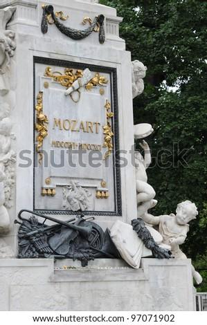 Mozart Monument plaque in Maria Theresien square, Vienna, Austria - stock photo