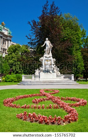 Mozart's Statue in Vienna - stock photo