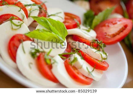 Mozzarella and Tomato 1 - stock photo