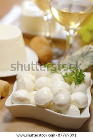 mozzarella and wine - stock photo