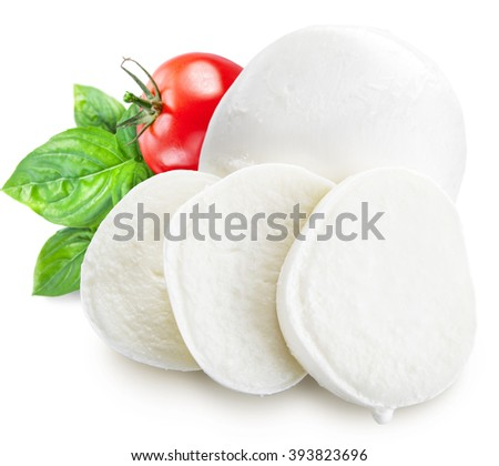 Mozzarella, basil and tomatoes. File contains clipping paths. - stock photo