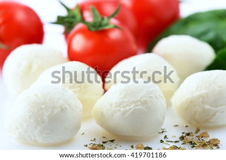 mozzarella cheese balls, ripe cherry tomatoes, greens and spices close-up on the white background. horizontal - stock photo