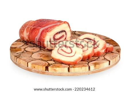Mozzarella Cheese, Prosciutto & Basil Roll  - stock photo