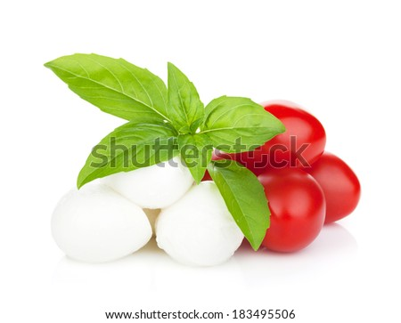 Mozzarella cheese with cherry tomatoes and basil. Isolated on white background - stock photo