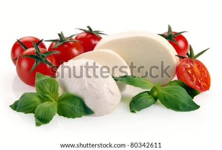 mozzarella cherry tomatoes basil on a white background - stock photo