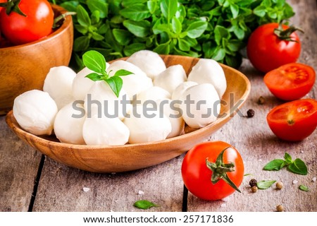 mozzarella, organic cherry tomatoes and fresh basil on a rustic wooden background - stock photo
