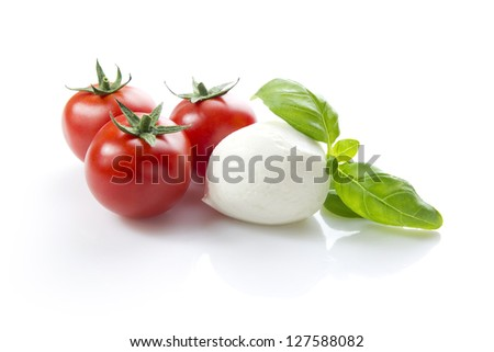 mozzarella with cherry tomatoes and basil, clipping path included - stock photo