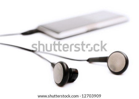 mp3 music player isolated on white - stock photo