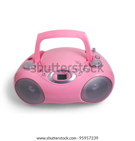 mp3 pink stereo cd radio recorder isolated on a white background - stock photo