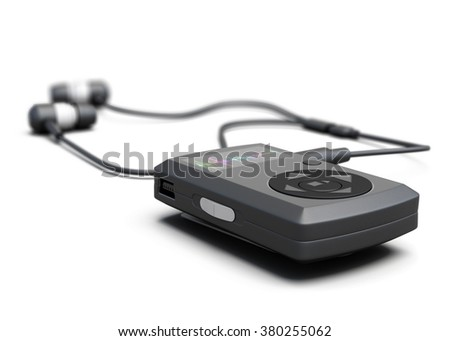 MP3 player closeup on white background. 3d render image. - stock photo