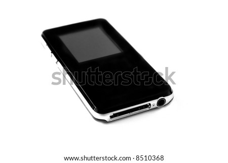 MP3 player isolated on white and space for text or image.