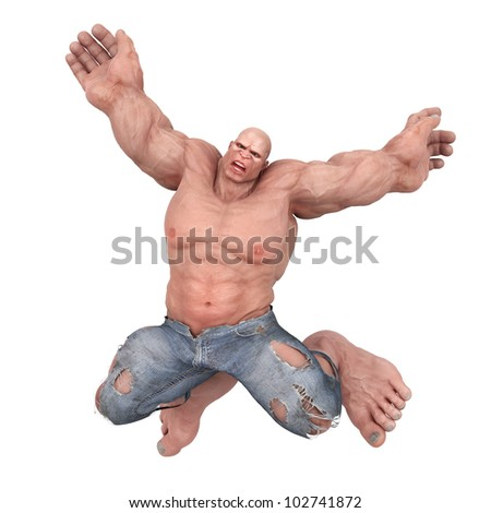 mr muscle jump - stock photo