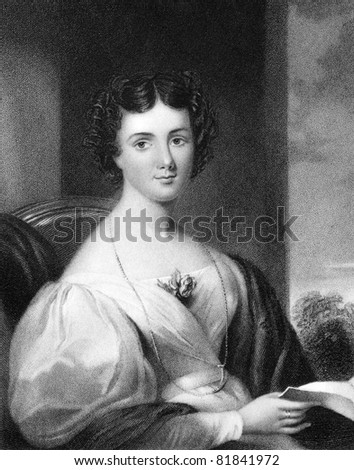 Mrs Fletcher late Maria Jane Jewsbury (1800-1833). Engraved by J.Cochran and published in The National Portrait Gallery Of Illustrious And Eminent Personages encyclopedia, United Kingdom, 1833. - stock photo