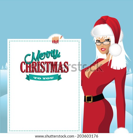 Mrs. Santa Claus with placard background  - stock photo