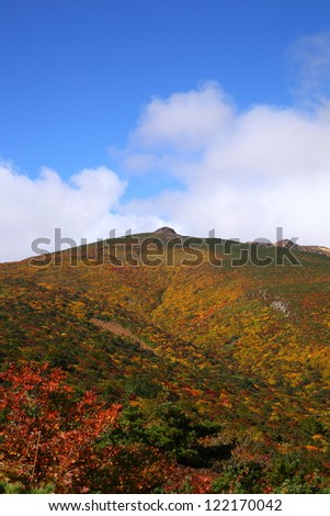 Mt. Adatarayama of autumn leaves, Fukushima, Japan