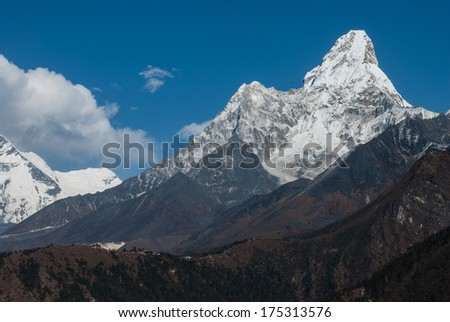 Mt.Ama Dablam on route to Everest base camp, Nepal - stock photo