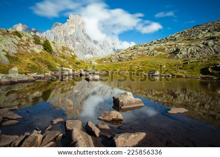 Mt.Cimon della Pala. The Pale di San Martino massif.  The Dolomites, region Trentino, Italy - stock photo