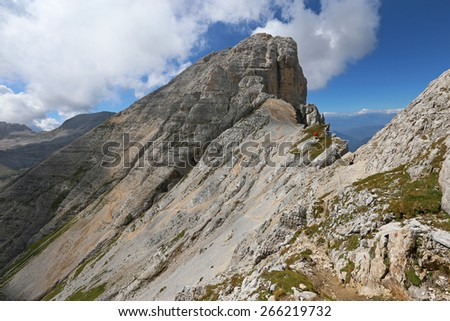 Mt Cimon of Latemar.  Limestone and other types of rocks in the Latemar massif.  The Dolomites, Italy - stock photo