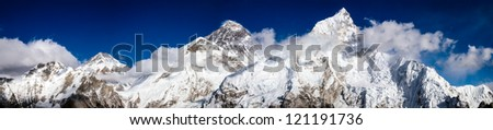 Mt. Everest, Changtse and Nuptse in Himalaya - stock photo