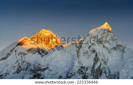 mt. Everest in the sunset rays