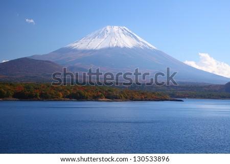 Mt. Fuji and Lake Motosu in autumn, Yamanashi, Japan - stock photo