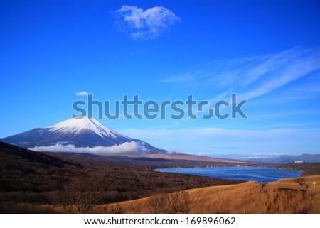 Mt. Fuji and Lake Yamanaka, Yamanashi, Japan - stock photo