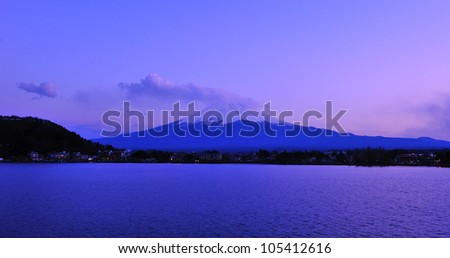 Mt. Fuji at Lake Kawaguchiko, Japan - stock photo