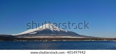Mt.Fuji at Lake Yamanakako, Japan - stock photo